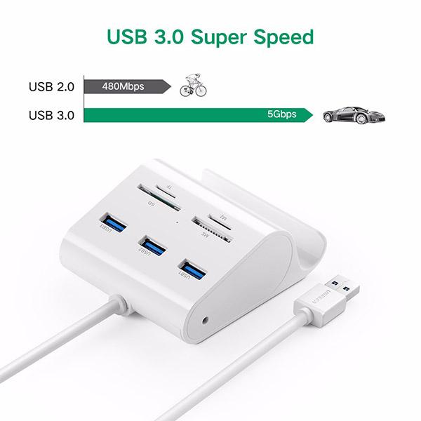 هاب و کارت خوان USB 3.0 سه پورت یوگرین (Ugreen) مدل 30344-30984